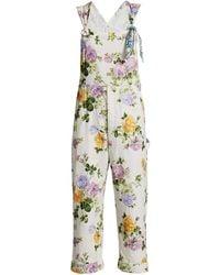 LoveShackFancy Daffy Printed Floral Overalls - Multicolor