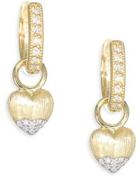 Jude Frances - Lisse Diamond Gold Puffy Heart Drop Earring Charms - Lyst