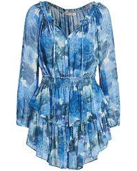 LoveShackFancy Silk Popover Dress - Blue