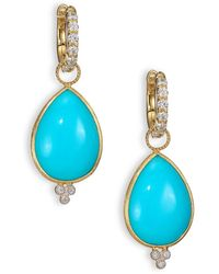Jude Frances Classic Turquoise, Diamond & 18k Yellow Gold Large Pear Earring Charms - Blue