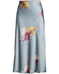 Rebecca Taylor Simone Fleur Bias Silk Skirt - Blue