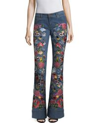AO.LA by alice + olivia - Ryley Embroidered Low-rise Bell Bottom Jeans - Lyst