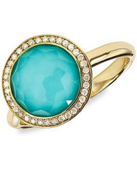 Ippolita Lollipop Mini 18k Yellow Gold, Doublet & Diamond Ring - Blue