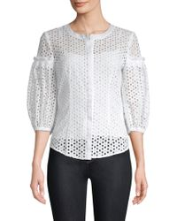 MILLY - Michelle Cotton Blouse - Lyst