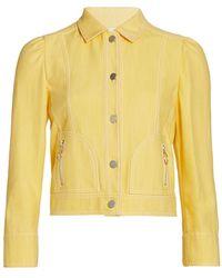 Akris Punto Cropped Denim Jacket - Yellow