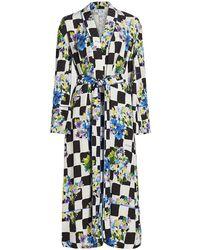 Off-White c/o Virgil Abloh Check Satin Pajama Robe - Black