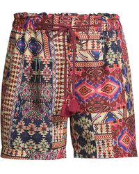 Johnny Was Geometric-print Paperbag Shorts - Red