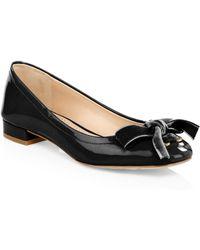COACH - Lia Velvet Bow Patent Leather Flats - Lyst