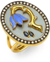 Holly Dyment - Sad Flower Sapphire, Diamond & 18k Yellow Gold Ring - Lyst