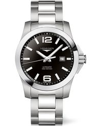 Longines Conquest Automatic Black Dial Mens 39mm Watch - Metallic