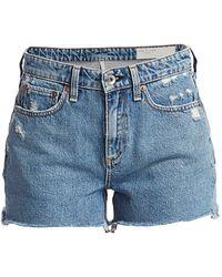 Rag & Bone Dre Low-rise Distressed Denim Shorts - Blue
