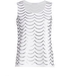 Joan Vass Petite Sequin Wave Cotton Shell - Gray