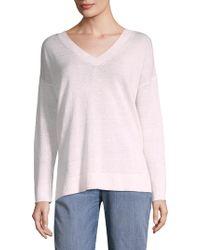 Eileen Fisher - Organic Linen V-neck Jumper - Lyst