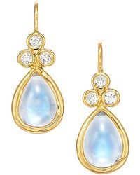 Temple St. Clair Royal Blue Moonstone, Diamond & 18k Yellow Gold Teardrop Earrings - Metallic