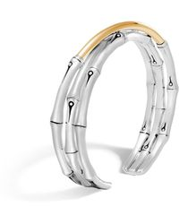 John Hardy Brushed 18k Yellow Gold And Sterling Silver Bamboo Small Flex Cuff - Metallic
