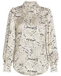 Cinq À Sept Shia Love Note Charmeuse Shirt - White