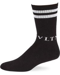 a38333754 Valentino - Men s Double-stripe Crew Socks - Black - Size S m -