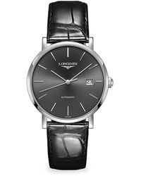 Longines Elegant Stainless Steel Automatic Leather Strap Watch - Multicolor