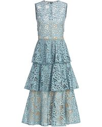 Oscar de la Renta Tiered Broderie Anglaise Dress - Blue