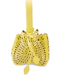 Alaïa Mini Rose-marie Leather Bracelet Bag - Yellow