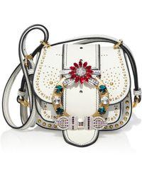 020ddb8cfc91 Miu Miu - Women s Dahlia Jewel-buckle Studded Leather Shoulder Bag - Bianco  - Lyst