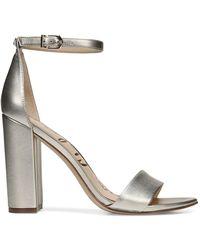 Sam Edelman Yaro Ankle Strap Sandal Heel - Metallic