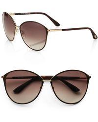 962ff7ab1eb Lyst - Tom Ford Nikita 55mm Cat s-eye Sunglasses havana in Brown