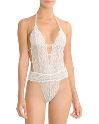 In Bloom Stretch Lace & Mesh Bridal Teddy - White