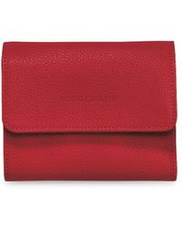 Longchamp Le Foulonn Leather Wallet - Red