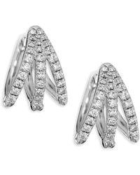 Melissa Kaye - Cris Diamond & 18k White Gold Hinged Hoop Earrings - Lyst