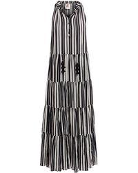 Figue Betty Puka Shell-trim Striped Tunic Dress - Black