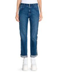 Stella McCartney - Relaxed Leg Cuffed Logo Jeans - Lyst