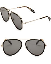 b40720f35e9 Lyst - Alexander McQueen Metal Navigator Sunglasses in Metallic for Men