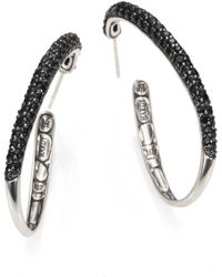 John Hardy - Kali Black Sapphire & Sterling Silver Hoop Earrings/2 - Lyst