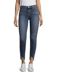 Current/Elliott - Stiletto Distressed Hem Medium-wash Skinny Jeans - Lyst