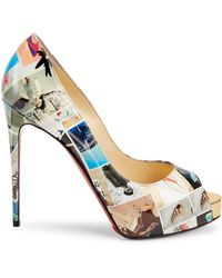 new arrival ede97 fa1fb New Very Privé 120 Printed Patent Leather Peep Toe Pumps - Multicolor