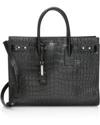 Saint Laurent - Medium Croc-embossed Leather Briefcase - Lyst