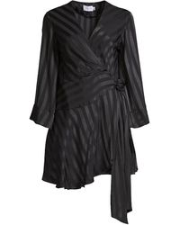 Significant Other Serenity Wrap Contrast Satin Dress - Black