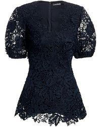 Lela Rose Floral Guipure Lace Puff-sleeve Blouse - Blue