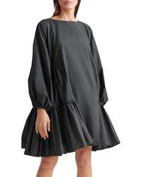Merlette Byward Cotton Trapeze Dress - Black
