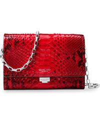 Michael Kors - Yasmeen Python Small Leather Clutch - Lyst