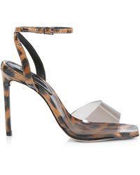 Schutz Jamili Vinyl & Leopard-print Patent Leather Sandals - Multicolor