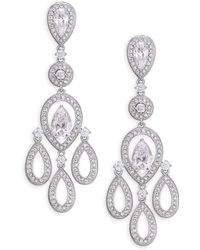 Adriana Orsini - Pave Pear Chandelier Earrings/silvertone - Lyst