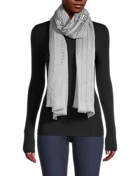 Janavi Metallic Abstract Stripe Cashmere Scarf - Gray
