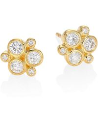 Temple St. Clair - Classic Trio Diamond & 18k Yellow Gold Stud Earrings - Lyst