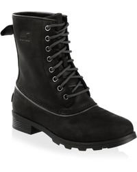 Sorel - Emelie Lace-up Leather Booties - Lyst