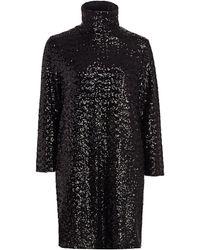Fabiana Filippi Micro-sequin Turtleneck Dress - Black
