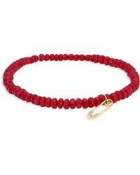 Sydney Evan - Safety Pin Diamond & Red Jade Bead Bracelet - Lyst