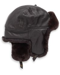 59ff9592bf742 Lyst - Crown Cap Vintage Leather Aviator Hat in Black for Men