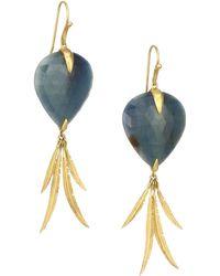 Annette Ferdinandsen Tropical 18k Yellow Gold & Sapphire Bird Of Paradise Earrings - Metallic
